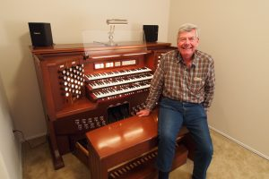 "Happy new owner of a pre-owned Rodgers three-manual organ, January 2016. This organ is 16 years old and came to us in ""like new"" condition."