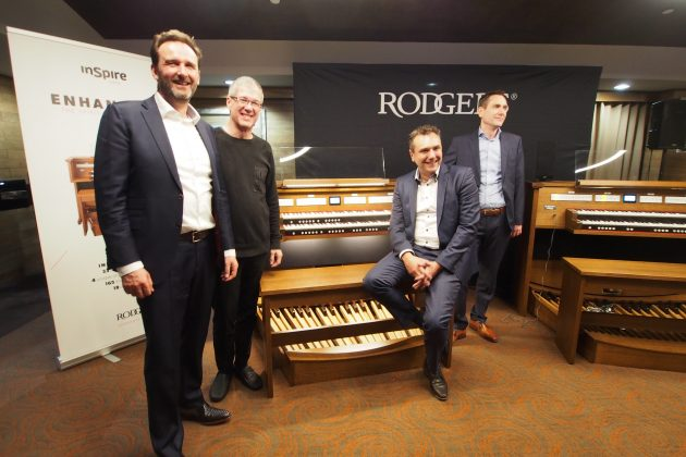 L to R: John Moesbergen, Rodgers Instruments CEO; Nelson Dodge, Church Keyboard Center; Marco Vanderweerd, Global Organ Group CEO; Rene Vanderweerd, Global Organ Group Technology Director.