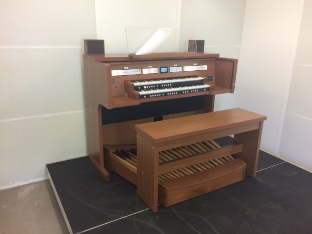 The Rodgers Inspire Classic organ in the practice room at California State University Long Beach, Bob Cole Conservatory of Music