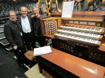 Left to right: Philip Smith, Walt Disney Concert Hall organ curator; Pablo Castallanosa, organist; Nelson Dodge, Church Keyboard Center president